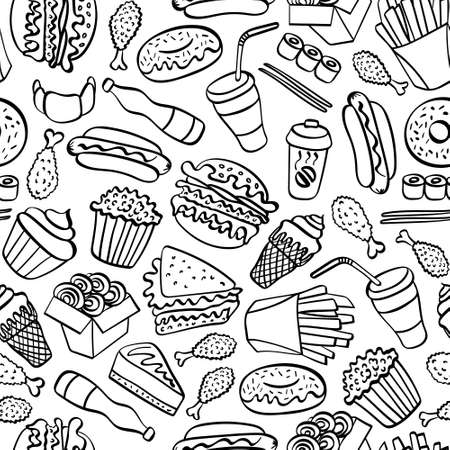 Fast food doodle seamless pattern. Hand drawn icons on white background. Vector illustration.