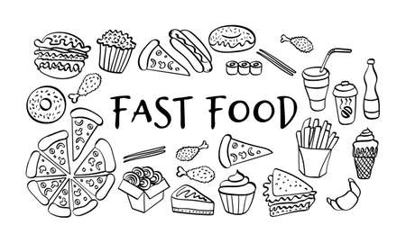 Fast food hand drawn collection. Doodle icons on white background. Vector illustration.