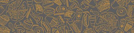 Street food doodle seamless horizontal border. Hand drawn icons on white background. Vector illustration. Illustration