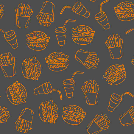 Fast food doodle seamless pattern. Hand drawn orange icons on gray background. Vector illustration.