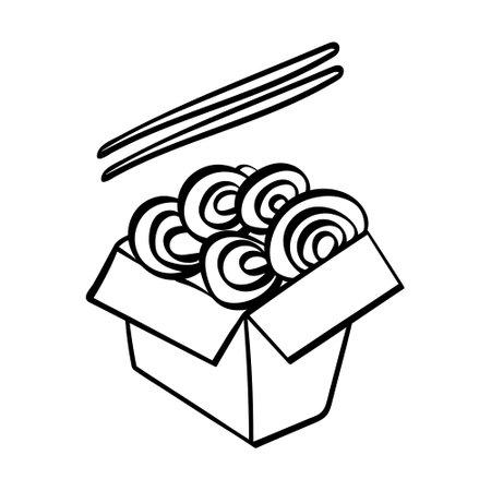 Hand drawn udon with chopstiks icon. Vector illustration. Illustration