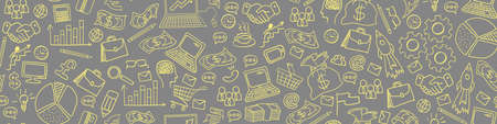Business hand drawn doodles seamless border on gray background. Vector illustration.