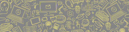 Online education seamless horizontal border. Distance learning yellow doodles on gray background. Vector illustration.