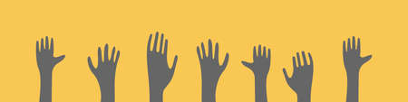 Raised hands silhouettes on yellow background. Community concept in trendy colors. Vector illustration.