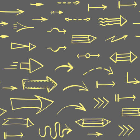 Seamless pattern with yellow hand drawn arrows on gray background. Vector illustration. Illustration