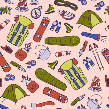 Seamless pattern with trekking and hiking equipment. Vector illustration.