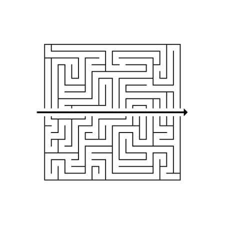 Labyrinth with a path line going straight through it. Simple solution of a complex problem. Vector illustration.