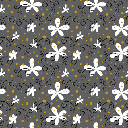 Abstract floral seamless pattern with white flowers. Simple fabric design. Vector illustration.
