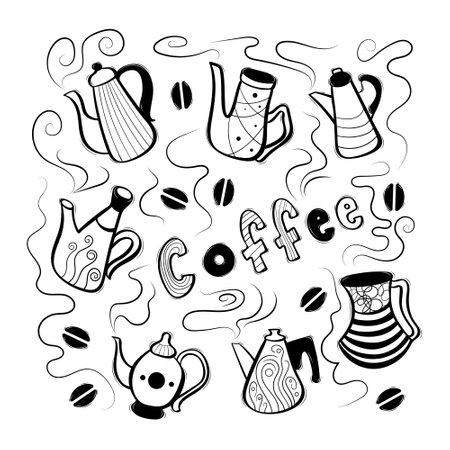 Set of cute decorative hand drawn coffee pots. Vector illustration.