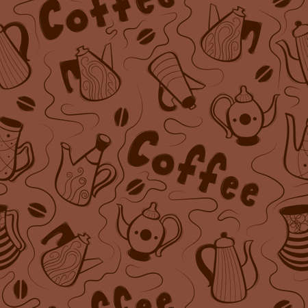 Seamless pattern with cute decorative hand drawn coffee pots. Vector illustration.
