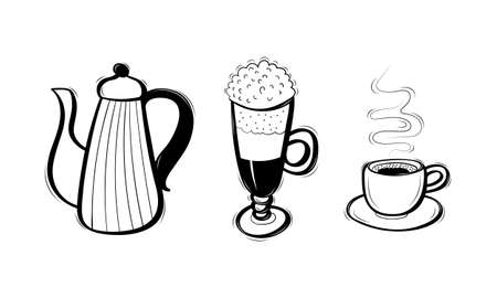 Set of cute decorative hand drawn coffee supplies. Pot, cup and glass with cream. Sketchy doodle objects. Vector illustration.