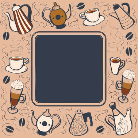 Blog cover with coffee hand drawn doodles. Vector illustration.