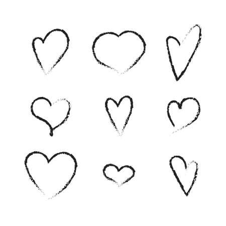 Cute hand drawn heart shapes set. Grunge elements isolated on white background. Vector illustration. Illustration