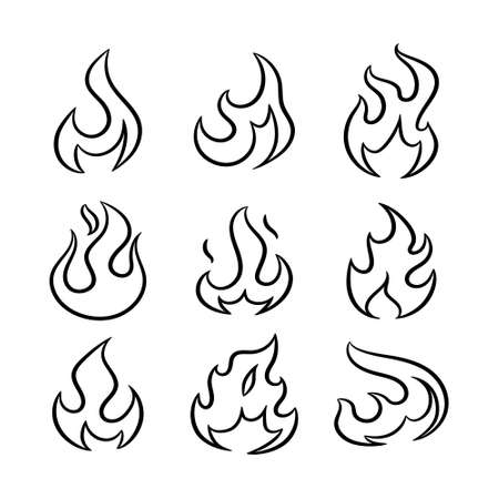 Outline flame icons set. Cartoon fire collection. Vector illustration.