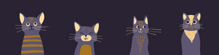 Cute cartoon cat heads on dark background. Funny kittens peeking out of the bottom of the page. Kitty banner. Vector illustration.