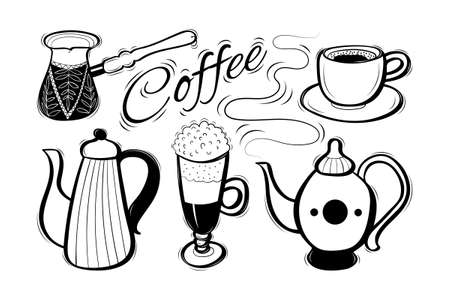 Set of cute decorative hand drawn coffee supplies with lettering. Sketchy doodle objects. Vector illustration. Illustration