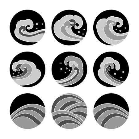 Japanese waves set. Graphic objects isolated on white background. Vector illustration. Illustration