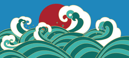 Traditional oriental waves with red sun. Japanese seascape. Vector illustartion.