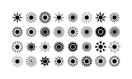 Sun icons collection. Meteorology symbols isolated on white background. Vector illustration. Illustration