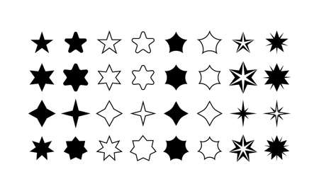 Star shapes set. Simple pictograms isolated on white background. Vector illustration.
