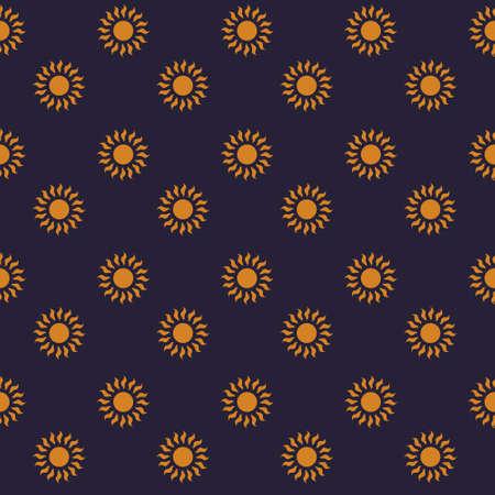 Magic golden sun seamless pattern on dark purple background. Vector illustration.