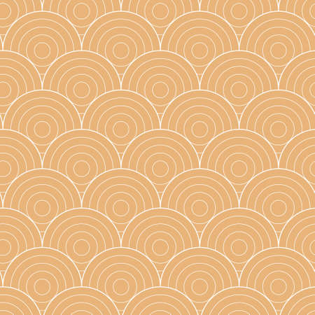 Geometric seamless pattern with circles in japanese vintage style. Vector illustration.