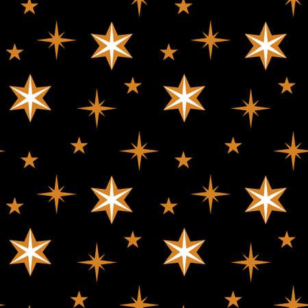 Seamless pattern with golden star shapes on black backround. Vector illustration. Illustration