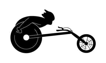 Disabled sportsman on a wheelchair. Racing concept. Vector illustration.