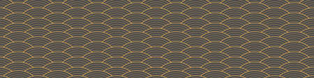 Japanese traditional seamless pattern with outline waves on gray background. Horizontal border with oriental ornament. Vector illustration.