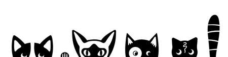 Funny cat faces on white background. Tricky kittens peeking out of the bottom of the page. Kitty banner. Vector illustration.