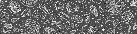 Fast food doodle seamless horizontal border. Hand drawn icons on white background. Vector illustration. Illustration