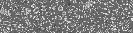 Social media doodles seamless horizontal border. White pictograms on gray background. Vector illustration.