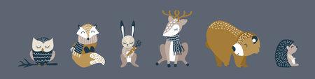 Cute cartoon animals set. Funny woodland characters on dark background. Vector illustration.