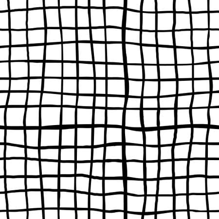 Hand drawn checkered seamless pattern. Black crossed lines on white background. Vector illustration.