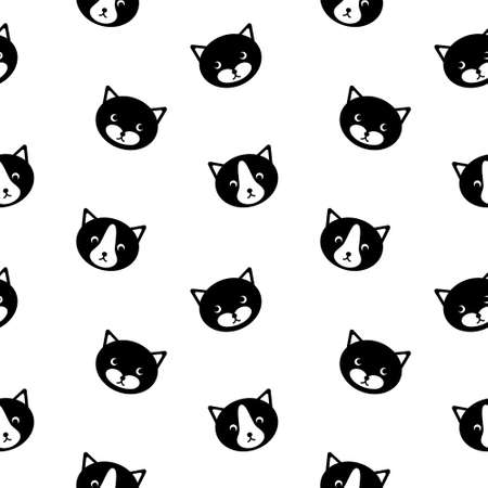 Seamless pattern with cute cat faces. Simle black silhouettes on white background. Vector illustration.