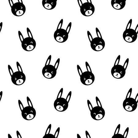 Seamless pattern with cute bunny faces. Simle black silhouettes on white background. Vector illustration.