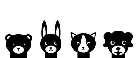 Cute animals faces in simple style. Black heads on white background. Vector illustration.