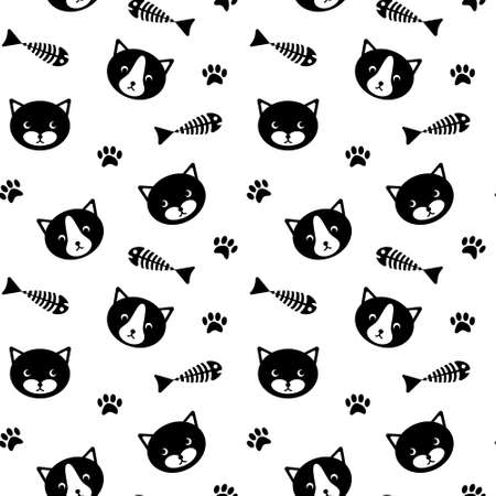 Seamless pattern with cute cat faces, fish bones and paw prints. Simle black silhouettes on white background. Vector illustration. Illustration