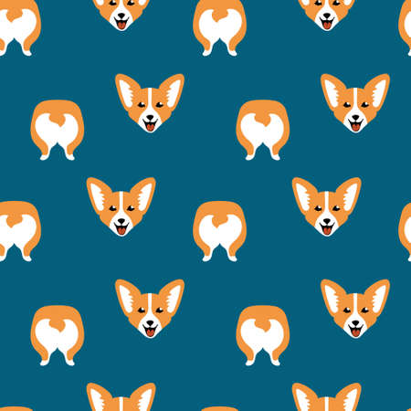 Cute cartoon corgi face and butt in seamless pattern on blue background. Children textile print. Vector illustration.