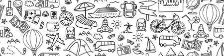 Travel hand drawn icons in seamless horizontal border. Vacation web banner. Vector illustration. Illustration