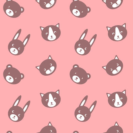 Simple girlish print with cute animals. Childish seamless pattern on pink background. Vector illustration.