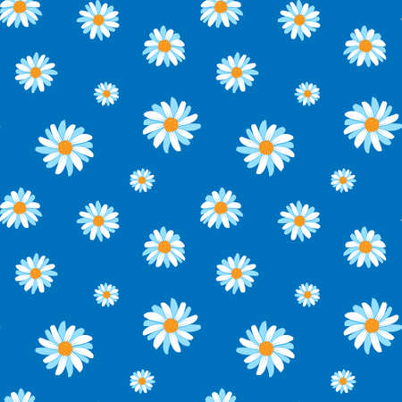 Chamomile seamless pattern on blue background. Cute summer flowers in cartoon style. Vector illustration.