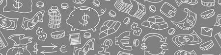 Doodle money seamless horizontal border. Outline hand drawn objects on gray background. Vector illustration.