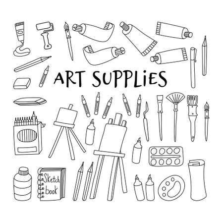 Art supplies collection. Hand drawn tools for painters isolated on white background. Vector illustration. Illustration