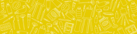 Art supplies seamless pattern. Hand drawn tools for painters on yellow background. Vector illustration. Illustration