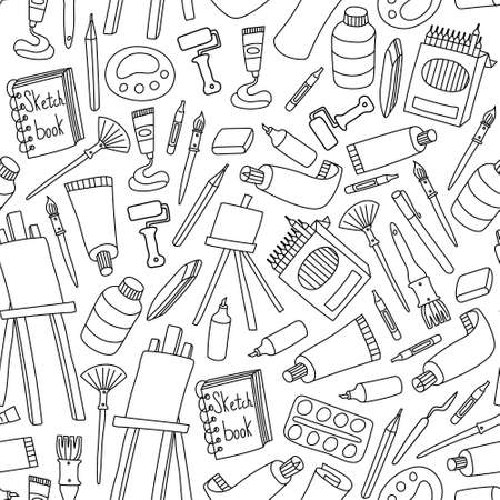 Art supplies seamless pattern. Black outline hand drawn tools for painters on white background. Vector illustration.