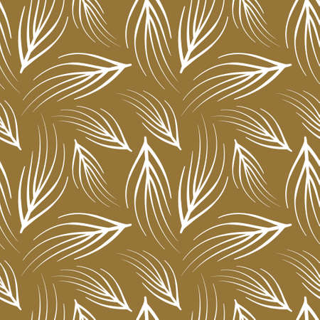 Abstract floral seamless pattern with outline white leaves on golden background. Vector illustration. Illustration