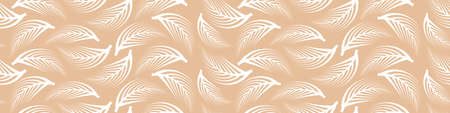 Abstract seamless pattern with outline white feathers on creamy background. Vector illustration.