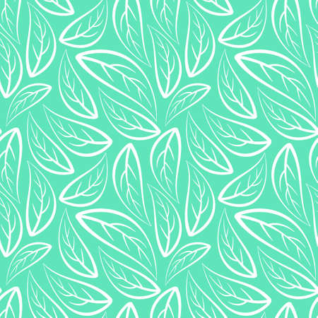 Abstract floral seamless pattern with outline white leaves on mint background. Vector illustration. Illustration