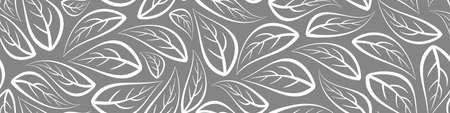 Abstract floral seamless horizontal border with outline white leaves on gray background. Vector illustration. Illustration